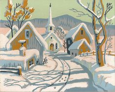 I still harbor a love for paint-by-numbers pieces. Probably because as a printmaker, I have to think one color at a time. Totally love this little winter scene.