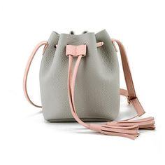 Girls Cute Korean Bags Messenger Leather Shoulder Sling Bags For Women Drawstring Handbags Ladies Small Crossbody Bucket Bags