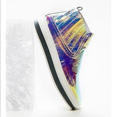 6e15b6eb3 Free People Williamsburg Sneaker Iridescent Holographic Opal Color Leather  41