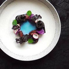 Octopus, squid ink tagliolini, purple cabbage, radish, tapioca crisp and purple…