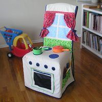Kids Kitchen Slipcover - cutest play kitchen ever. Love how adorable it is AND practical. A fabulous play kitchen for small spaces! Play Kitchens, Sewing For Kids, Diy For Kids, Kids Crafts, Sewing Projects, Craft Projects, Quilting Projects, Slipcovers For Chairs, Slipcover Chair