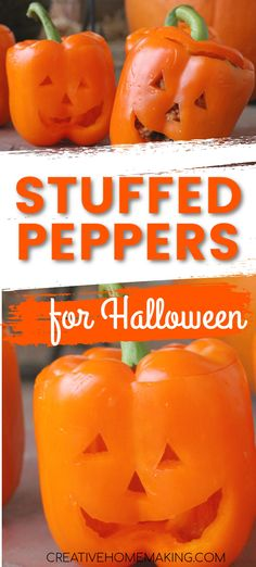 Easy beef stuffed peppers recipe for Halloween. Easy Halloween food idea for kids parties. #creativehomemaking #halloween Easy Halloween Food, Halloween Carnival, Halloween Goodies, Halloween Food For Party, Halloween Kids, Halloween Treats, Creepy Halloween, Halloween 2020, Carnival Food