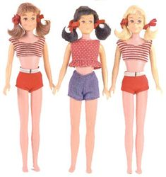 """Vintage Skooter Dolls The first Skooter Dolls were introduced in 1965, as Skipper's same size friend - the dolls have the same body with different heads and can share all of the same clothing. Cute is the word most often used to describe Skooter - think of the adorable """"girl next door"""" with pigtails and freckles."""