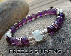 Aquamarine & Amethyst Bracelet, Buddhist Bracelet, Meditation, Yoga Mala, Prayer Beads, Crown Chakra, Women's Healing, Energy infused on Etsy, $31.00