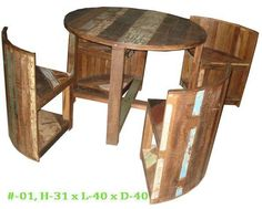 Reclaimed wooden 4 seat coffee table and stool set.  www.alpacorp.in