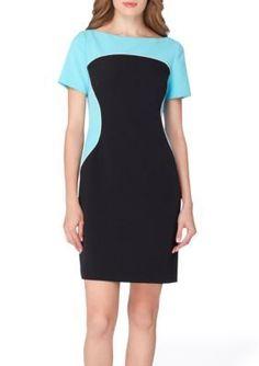 Tahari ASL BlackBlue Sheath Crepe Dress