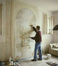 Living room paint ideas living room wall painting designs design ideas for art painting paneled walls Wall Painting Living Room, Room Wall Painting, Faux Painting, Mural Painting, Mural Art, Wall Murals, Wall Paintings, Bedroom Wall, Interior Painting