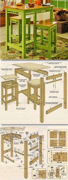 Tall Kitchen Table Plans - Furniture Plans and Projects | WoodArchivist.com