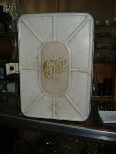 Metal Kitchen Cake Storage Tin Box Vintage Antique #Americana