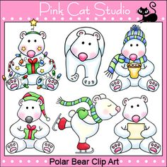 These polar bear clip art designs are perfect for your winter or Christmas theme teaching resources. By Pink Cat Studio