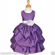 Dark Purple Flower Girl Dresses   Plum Purple White Bridesmaid Formal Flower Girl Dress 6M 12M 18M 2 4 5 ...