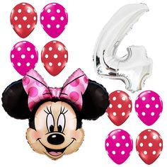4th Birthday Party Supplies Minnie Mouse Fouth Foil Balloon Polka dots Pink&Red #Anagram #BirthdayChild