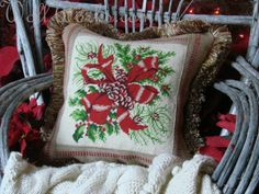 Lodge Christmas Salvaged Needlepoint
