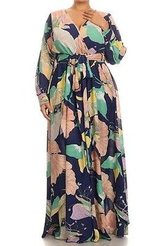 Sexy Plus Royal Blue Chiffon Floral Wrap Dolman Wing Skirt Maxi Dress 1X 2X 3X