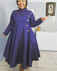 Spiffy Fashion Simple shweshwe dresses we love It - Latest African Fashion Dresses, African Dresses For Women, African Print Fashion, African Prints, African Women, Sotho Traditional Dresses, South African Traditional Dresses, Xhosa Attire, African Attire