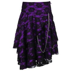 Anushka Gothic Skirt Purple Satin Skirt with Floral Lace Overlay & Chain Front Length: 26 inches Back Length: 26 inches Fabric: Satin Opening: Side Zipper