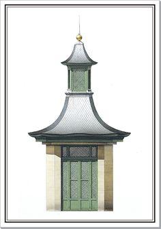 Andrew Zega and Bernd H. Dams, watercolor, pagoda at Stors