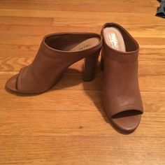 MOSSIMO | Cognac Stacked Heel Mule Worn once to work, just a little too big! No box Mossimo Supply Co. Shoes Heels