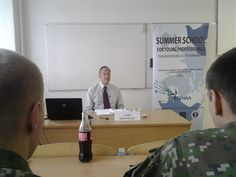 """LIPTOVSKY MIKULAS, Slovakia (July 9, 2014) – Professor John Kriendler, professor of NATO and European Security Studies at the George C. Marshall European Center for Security Studies, lectures on NATO: Key Issues at Wales,"""" June 22 during the Center for Eu"""