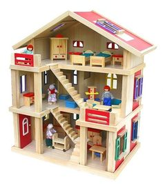 Orange Three-Storey Wooden Dollshouse by Chic 2000 on today! Wooden Dollhouse, Diy Dollhouse, Popsicle Stick Crafts, Craft Stick Crafts, Bayer Chic 2000, Barbie House, Doll Furniture, Creative Crafts, Wooden Toys