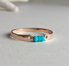 Sleeping Beauty Turquoise Ring, Rose Gold Filled Ring, Minimalist Turquoise Ring, Turquoise Stacking Ring, Pink Gold Ring, Rose Gold Ring