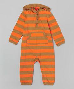 Another great find on #zulily! Orange & Brown Stripe Hoodie Romper - Infant #zulilyfinds