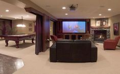 Home Theater family room (basement ideas on a budget) Tags: basement ideas finished, unfinished basement ideas, basement ideas diy, small basement ideas basement+ideas+on+a+budget Home Theater Rooms, Home Theater Design, Cinema Room, Open Basement, Basement Fireplace, Basement House, Basement Finishing, Fireplace Design, Basement Remodeling