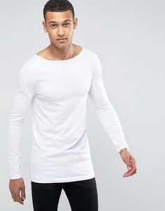 ASOS Longline Muscle Long Sleeve T-Shirt With Boat Neck In White - Whi