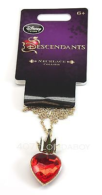 Disney Store Descendants Necklace with Pendant Evie Red Heart Gold Crown