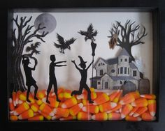 Trick or Treat Shadow Box - I found all of the supplies at Michaels - Shadow box, haunted house, spooky tree, birds and die cutter vinyl (for the kids). Fill with candy corn and enjoy