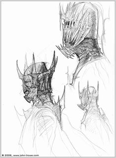 "Gorgeous concept art of the Mouth of Sauron by John Howe from ""Lord of the Rings: Return of the King"" (2003).  The final version used for filming eliminated any exposed skin for the upper half of the face and drew attention to a rotting, demonic mouth."