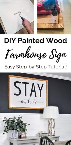 Easy DIY Farmhouse Sign Tutorial – How to Make a Wood Sign with Paint / Learn the simple way to make a black and white farmhouse painted wood sign without a stencil! Create stunning, rustic wall art for your house with this easy tutorial. Diy Wood Wall, Rustic Wall Art, Diy Wood Signs, Painted Wood Signs, Rustic Walls, Wood Art, Wood Wood, Painting Signs On Wood, Wall Signs
