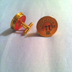 Good idea for a groomsmen/usher gift. Personalized shotgun shell cap cuff links. Got these from my cousin's wedding I was an usher in. Have them wear their cuff links the day of.
