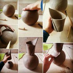 Work in progress. Raku pottery turquoise And Gold vase by Federico Becchetti. fine art ceramic Raku vase, turquoise ceramic vase, raku pottery vase, artistic vase, liberty vase, decorative vase, modern vase
