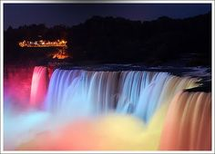 Niagara Falls - spectacular at night when they shine the colored lights on them.