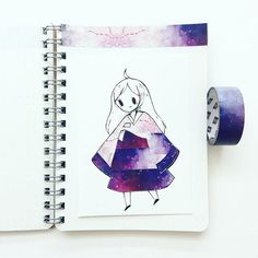 #washitape skies 4  this washi tape had a gradient from light to dark so i tried to make it into a hanbok! c: