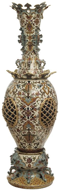 Zsolnay - Decor vase from a castle's furnishment, Zsolnay, 1886