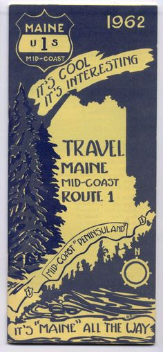 Vintage Scarce 1962 MAINE-US ROUTE 1 Mid-Coast 32 PG Travel Guide