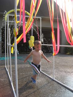 PVC pipe water park in the backyard!