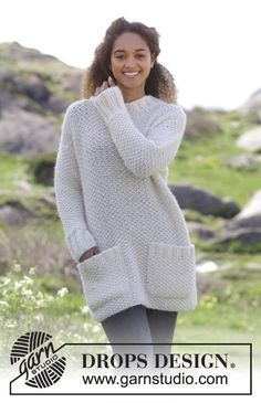 Walk in the Park - Knitted jumper with moss stitch and pockets. Sizes S - XXXL. The piece is worked in DROPS Air and DROPS Brushed Alpaca Silk. Free knitted pattern DROPS 181-14