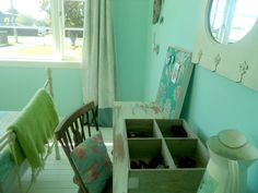 Teenage Girls Bedroom: A Teal/Duck egg blue shade with shabby chic, vintage and french influences. Teal Duck, Duck Egg Blue, Teenage Girl Bedrooms, Girls Bedroom, Painted Floorboards, Shabby Chic, French, Table, Furniture