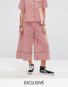 Pantalones de pernera ancha a rayas con ribetes de Reclaimed Vintage Inspired