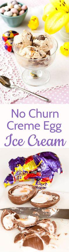 This easy no churn Cadbury Creme Egg ice cream recipe has just three ingredients!