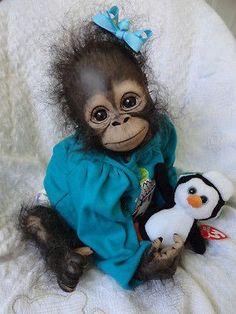 OOAK Reborn monkey Chimpanzee baby Girl art doll primate ape original