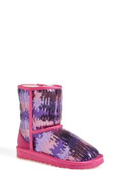 UGG® Australia 'Classic Short Sparkle Wave' Boot (Little Kid & Big Kid)