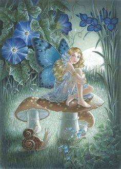 fada Beautiful Fairies, Fairy Art, Fantasy World, Fantasy Art, Fairy Houses, Sprites, Magical Creatures, Fantasy Creatures, Morning Glories