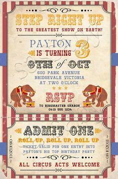 Vintage Circus Birthday Invitation - DIY PRINTABLE DIGITAL FILE