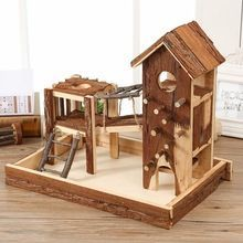 Non-toxic Natural pine wooden play ground for hamster custom design acceptable