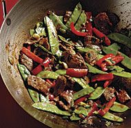 Stir-Fried Chili Beef with Bell Peppers and Snow Peas - Fine Cooking Recipes, Techniques and Tips Pea Recipes, Asian Recipes, Healthy Recipes, Healthy Food, Whole30 Recipes, Protein Recipes, Asian Foods, Chinese Recipes, Chinese Food