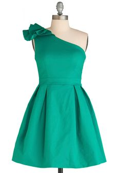 green (teal) one shoulder dress